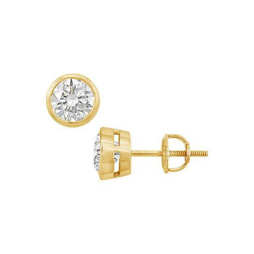 18K Yellow Gold : Bezel-Set Round Diamond Stud Earrings 2.00 CT. TW.-JewelryKorner-com