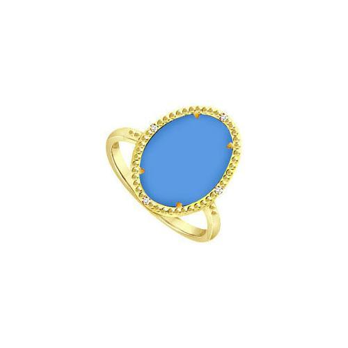 18K Yellow Gold Vermeil Ring with Oval Blue Chalcedony and Cubic Zirconia 15.08 Carat TGW-JewelryKorner-com