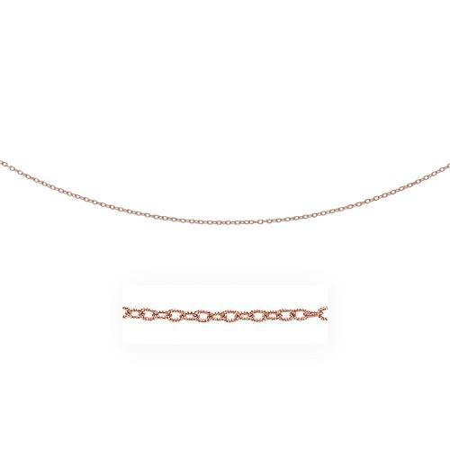 2.5mm 14K Rose Gold Pendant Chain with Textured Links, size 18''-JewelryKorner-com