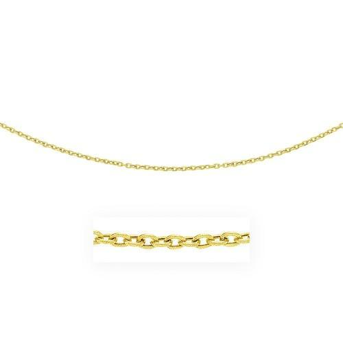 3.5mm 14K Yellow Gold Pendant Chain with Textured Links, size 18''-JewelryKorner-com
