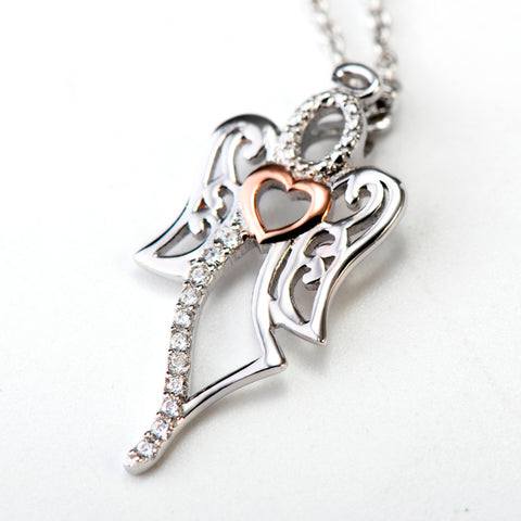 3A Cubic Zirconia Love Angel Pendant 925 Sterling Silver Statement Necklaces Fashion Jewelry Collier Kolye For Women