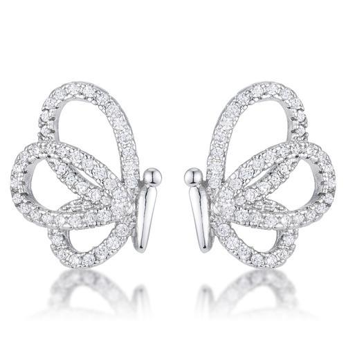 .45 Ct CZ Butterfly Stud Earrings-JewelryKorner-com