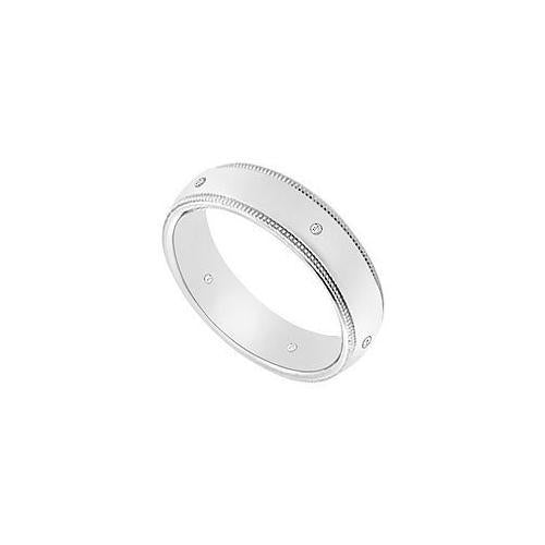 5MM Milgrain Wedding Band with Diamonds : 14K White Gold - 0.05 CT TDW-JewelryKorner-com