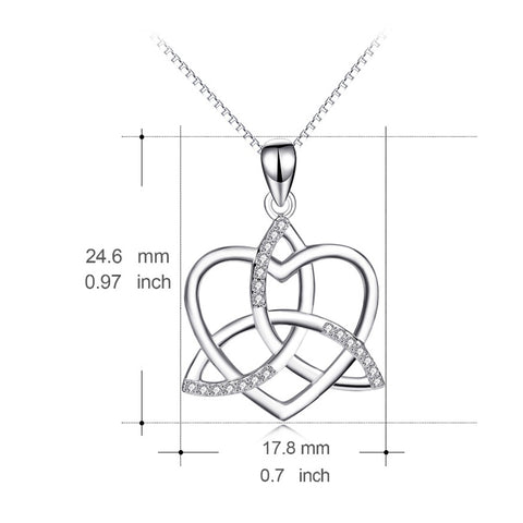 925 Sterling Silver AAA Cubic Zirconia Love Heart Fashion Knot Cross Pendants Necklaces For Women Maxi Necklace