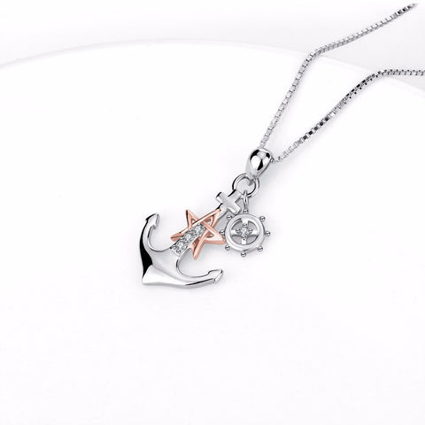 925 Sterling Silver Anchor Statement Choker Necklace Rose Gold Star Paddle Pendants Necklaces Fashion Jewelry For Women