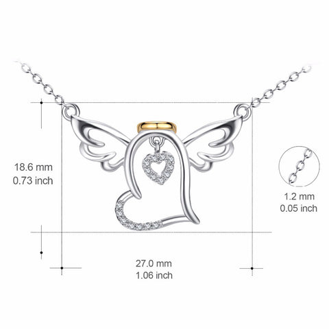 925 Sterling Silver Angel Wings Charm Statement Necklace Love Heart Cubic Zirconia Pendant Necklaces Fashion Jewelry For Women