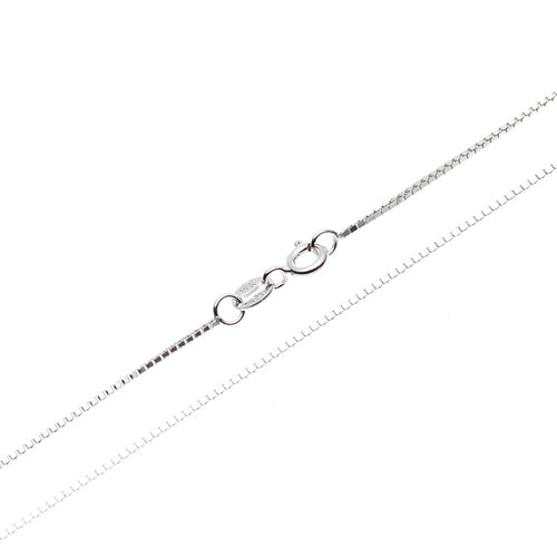"925 Sterling Silver Box Chain Necklace, Thin Italian Necklace Women Jewelry for Pendants Charms, 0.8mm Wide, 16"" 18"" 20"" 22"" 24"""
