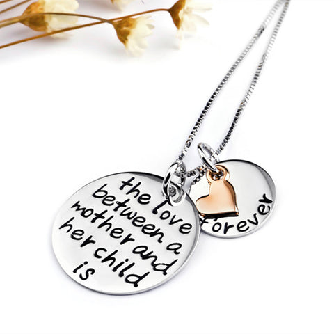 925 Sterling Silver Charm Statement Necklace Mother Child Love Jewelry Collar Necklace Fashion Jewelry For Women GNX0330