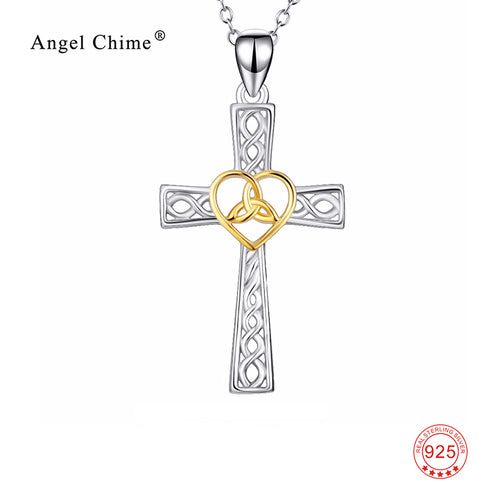 925 Sterling Silver Cross Necklace Love Heart & Knot Pendants Necklaces New Style Jewelry For Women