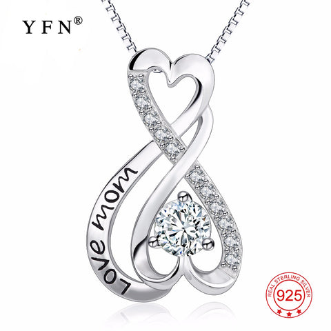 "925 Sterling Silver Infinity Love Cubic Zirconia Pendants Necklaces ""Love Mom"" Necklace For Mother's Day Best Gifts GNX13864"