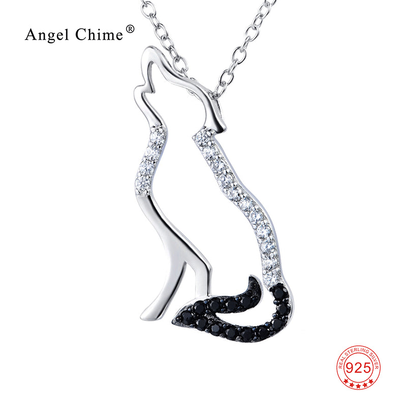 925 Sterling Silver Necklace Black White Cubic Zirconia Wolf Necklaces & Pendants Men and Women Jewelry GNX0004
