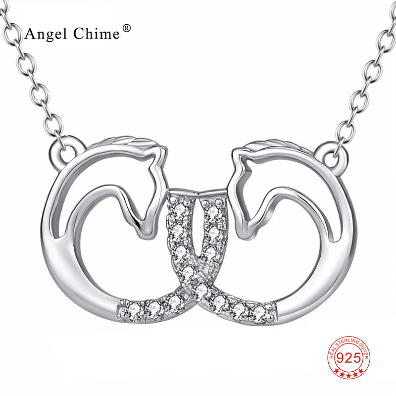 925 Sterling Silver Necklace Double Horse Head Crystal Pendant Statement Necklaces Fashion Collier Kolye Jewelry Gift For Women