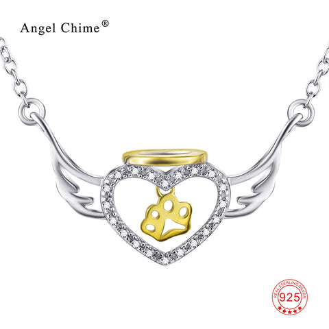 925 Sterling Silver Necklace Women Jewelry CZ Crystal Angel Wings Heart Dog Paw Charms Necklace 18inches