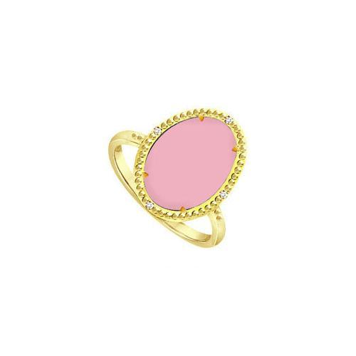 .925 Sterling Silver Overlay 18K Yellow Gold Ring with Pink Chalcedony and Cubic Zirconia 15.08-JewelryKorner-com