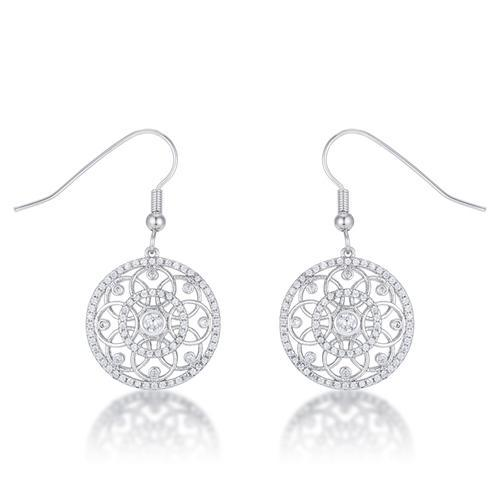 .95 Ct Interlocking Circle Rhodium and CZ Earrings-JewelryKorner-com