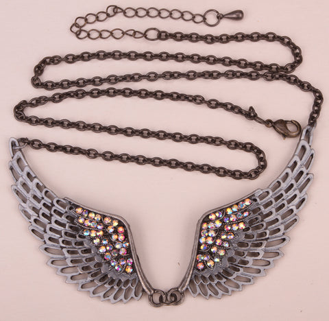Angel wing bib necklace adjustable women biker jewelry gifts antique silver color NM06 wholesale dropship