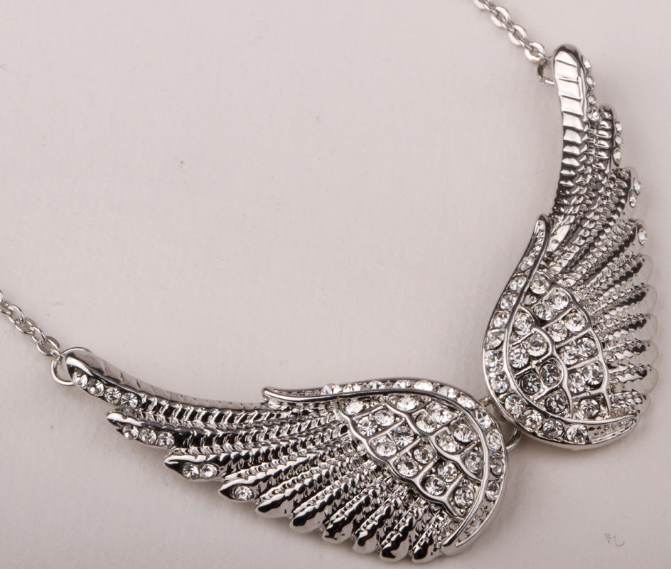 Angel wing chocker necklace women biker bling jewelry gifts W/ crystal antique gold silver color NM04 wholesale dropshipping
