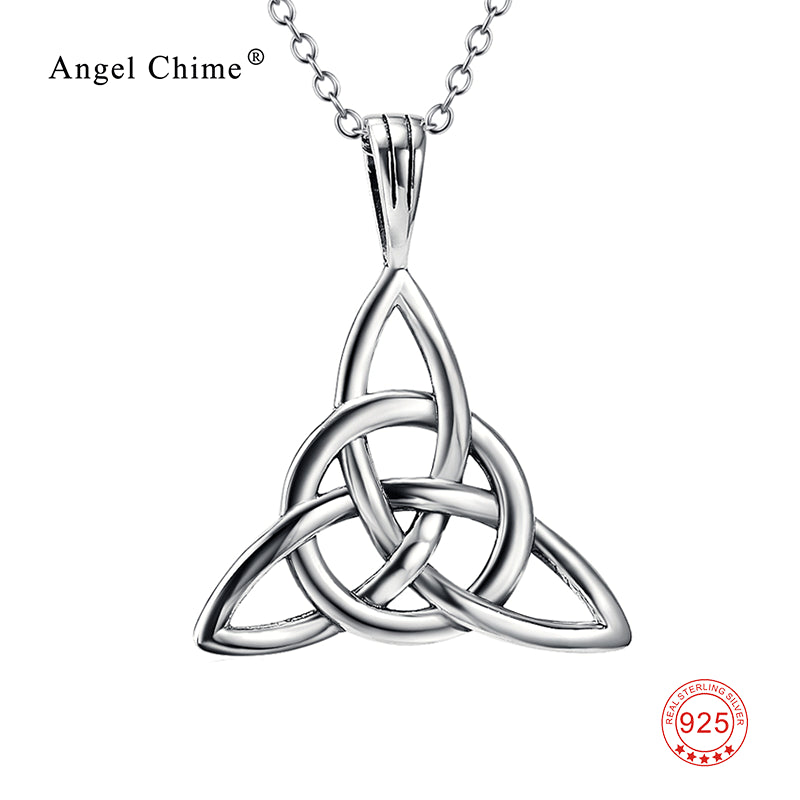 Antique Silver Luck Knot Pendant Necklace  925 Sterling Silver Statement Collier Necklace Fashion Jewelry Gift For Women