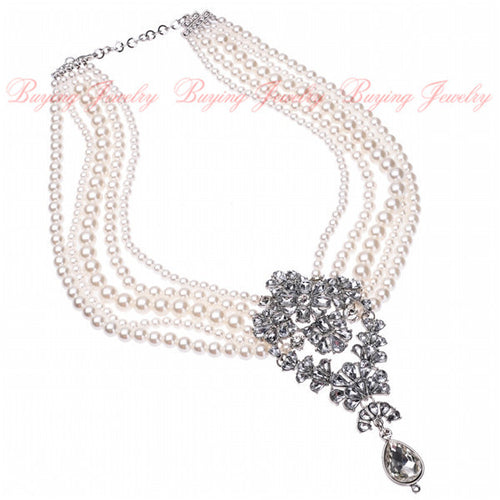Attractive White Pearl Glass Beads Layered Bib Choker Pendant Necklace Wedding Shining Jewelry Gift