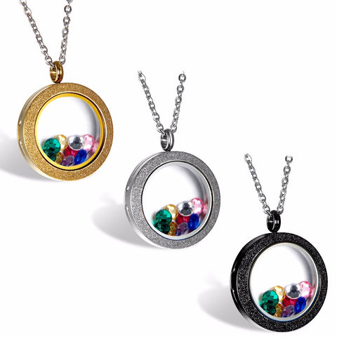 BONISKISS 316L Stainless Steel  Silver Gold tone Matte Glasss Round Living Floating Charm Memory Locket Pendant Necklace