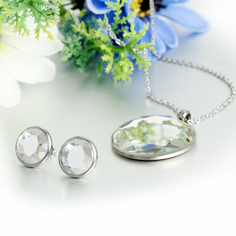 BONISKISS Silver Tone Stainless Steel Ladies Mirror Polishing Round Crystal Pendant Necklace With Chain