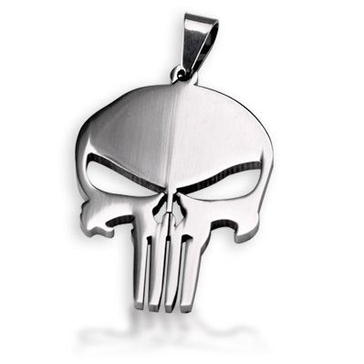 Bahamut Marvel Hero The Punisher Skull Necklace Pendant Dog Tag Free With Chain Titanium Steel Necklace
