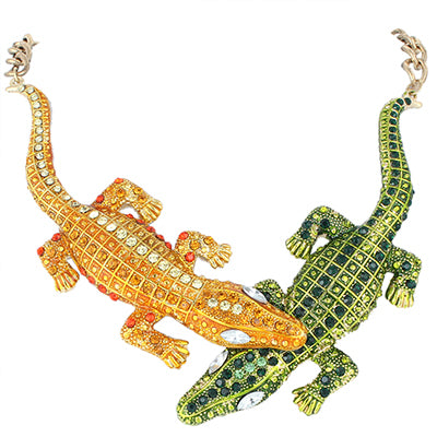 Bella Fashion 3 Colors Enamel Crocodile Choker Necklace Austrian Crystal Rhinestone Animal Alligator Necklace Party Jewelry Gift