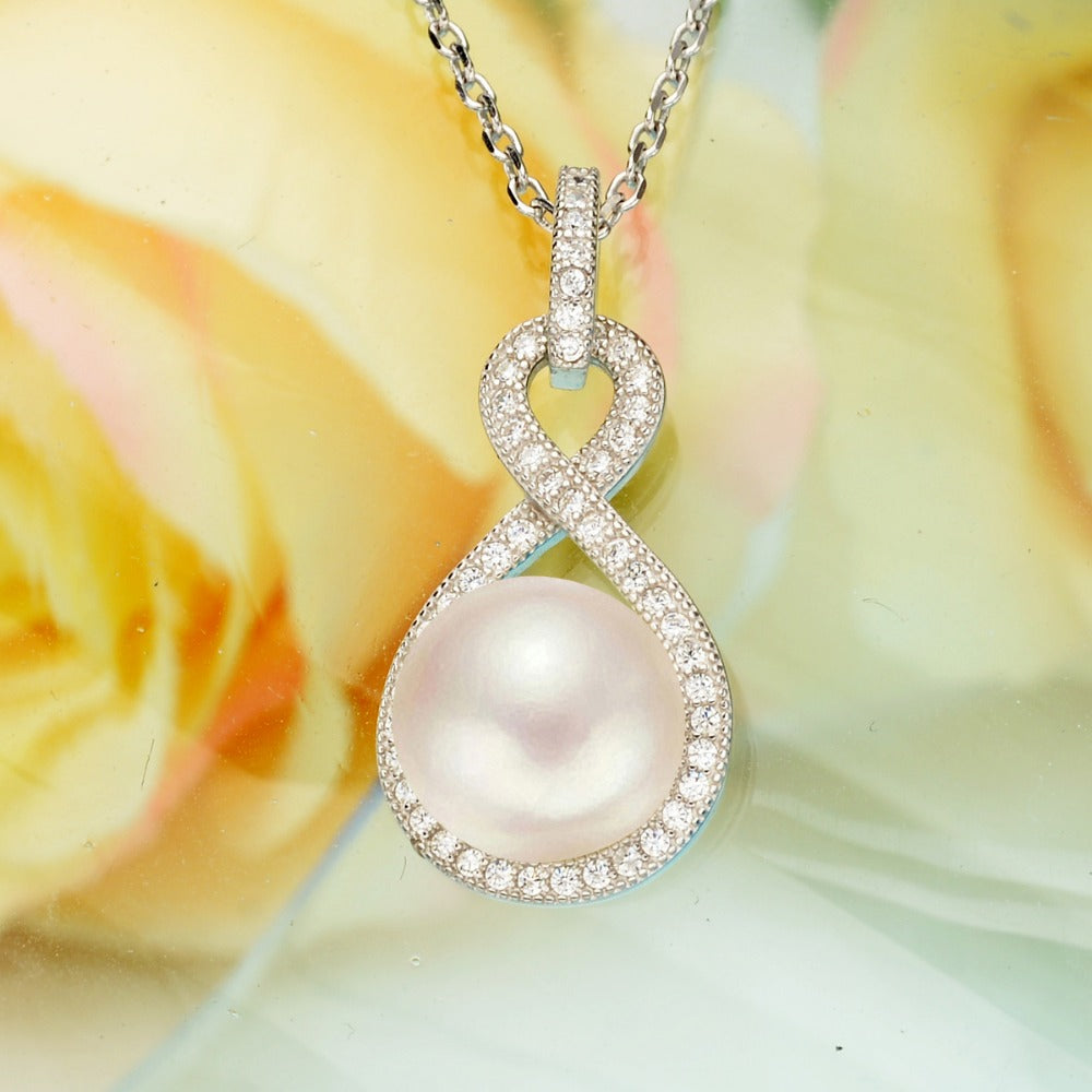 Bella Fashion 925 Sterling Silver Infinity Bridal Necklace Cubic Zircon Ivory Freshwater Cultured Pearl Wedding Jewelry 10M