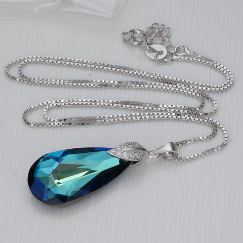 Bella Fashion 925 Sterling Silver Leaf Teardrop Bridal Necklace Austrian Crystal Pendant Necklace For Wedding Party Jewelry