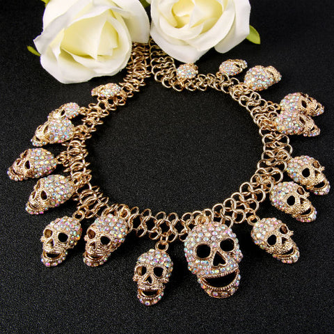 Bella Fashion Clear/Clear AB Full Skull Bone Skeleton Choker Necklace Austrian Crystal Rhinestone Necklace For Halloween Party