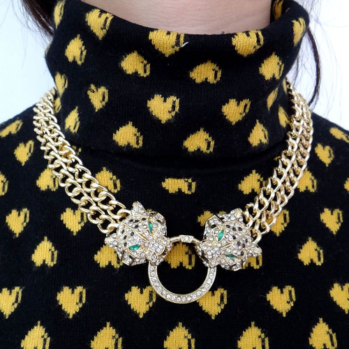 Bella Fashion Duel Panther Leopard Choker Necklace Austrian Crystal Rhinestone Animal Necklace For Women Party Jewelry Gift