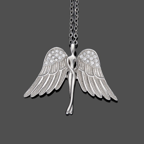 Bella Fashion Silver/Gold 925 Sterling Silver Angel Bridal Charm Necklace Cubic Zircon Pendant Necklace For Wedding Party Gift