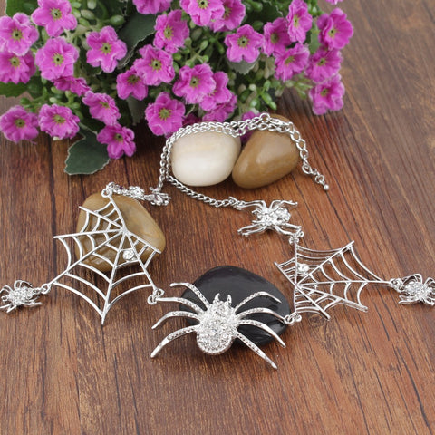 Bella Fashion Spiderweb Spiders Choker Necklace Austrian Crystal Rhinestone Animal Necklace For Women Party Jewelry Halloween