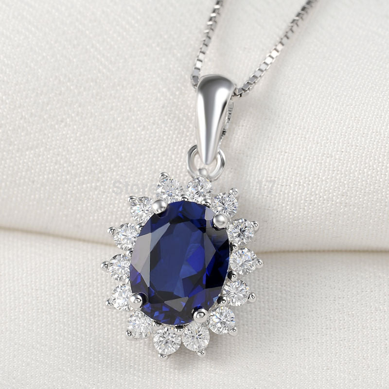 Blue Zirconia 925 Sterling Silver Pendant 18' Free Gift Chain Trendy Jewelry For Women Ship From USA Fast Delivery