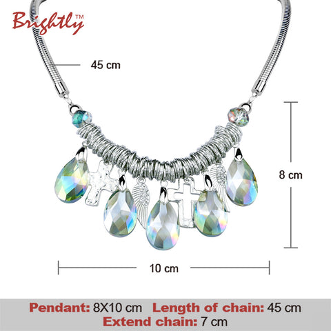 Brightly Bohemia Maxi Statement Necklaces 5 Water Drop Luxury Rhinestone Cross & Angel Wings Pendants Necklaces For Women
