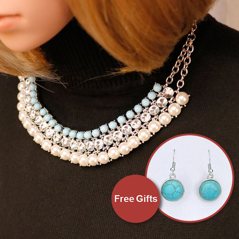 Brightly Bohemian Statement Collar Necklaces Greenish-blue Beads Simulated Pearls Pendants Necklaces for Women Holidays Beach