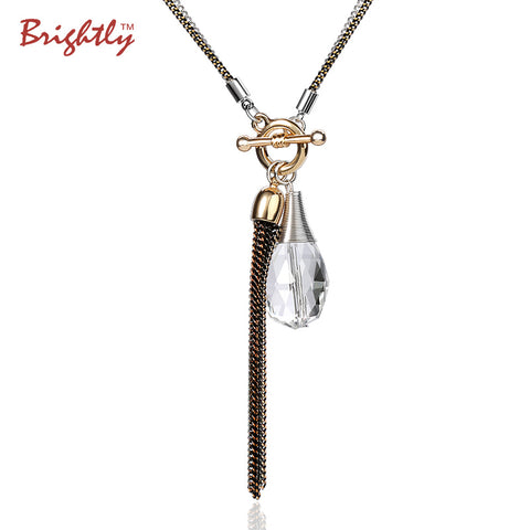Brightly Double Chain Long Necklace Water drop and Tassel Pendant Necklaces For Women