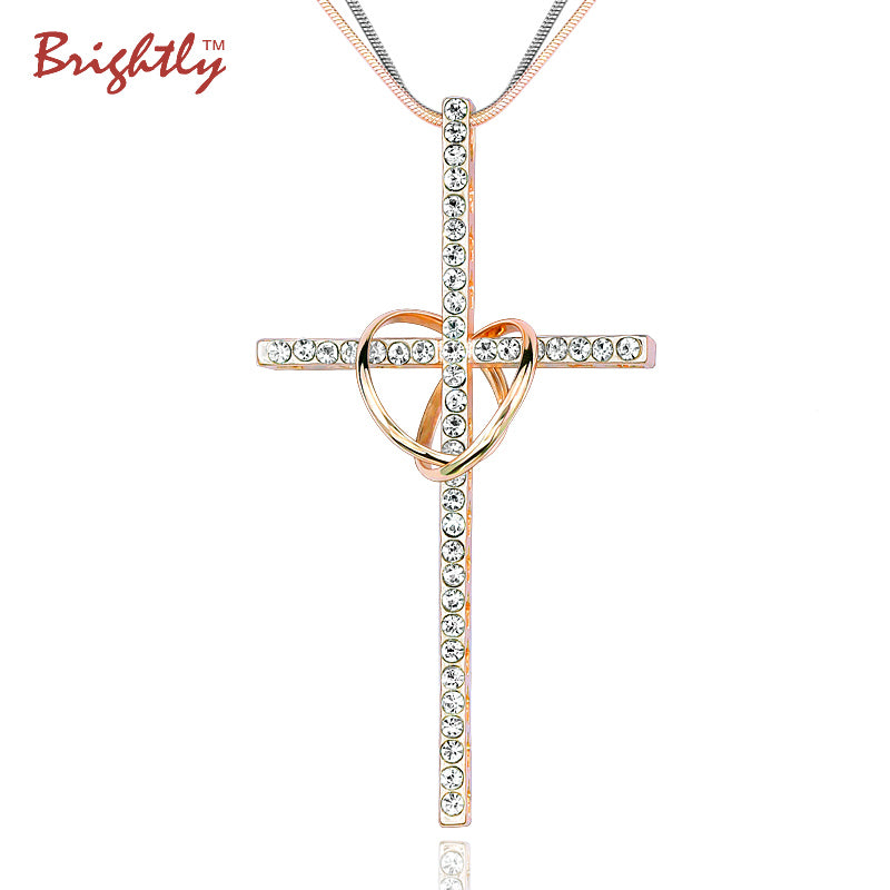 Brightly Double Circles Cross Pendants Necklaces with Rhinestone Long Necklaces for Women Love Gift