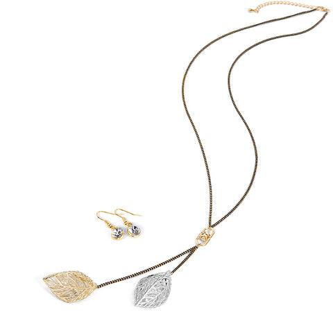 Brightly Elegant OL Elegant Style Vintage Long Necklaces Hollow Double Leaf Pendants Necklace for Women Accessories Love Gifts