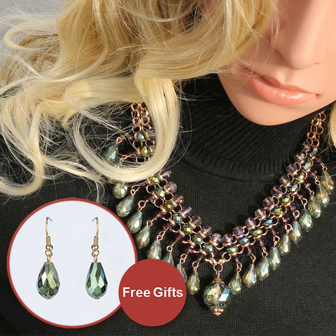 Brightly Ethnic Maxi Statement Necklaces with Luxury Water Drop Rhinestones Pendant Necklaces for Women Love Gifts