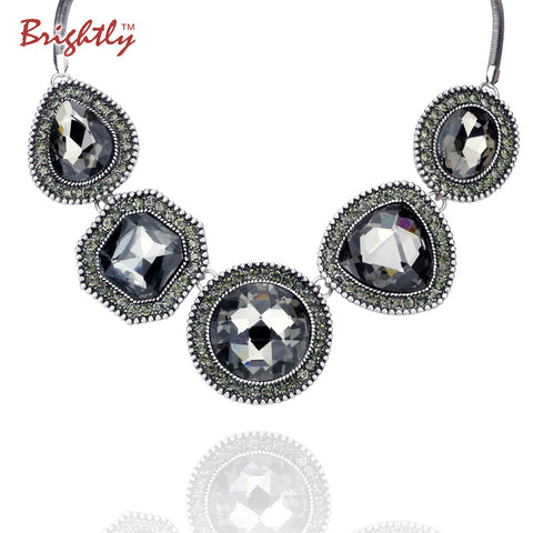Brightly Hot Sales Maxi Statement Collar Necklaces with 5 Roundel Rhinestones Snake Chain Necklaces for Women Evening Dress
