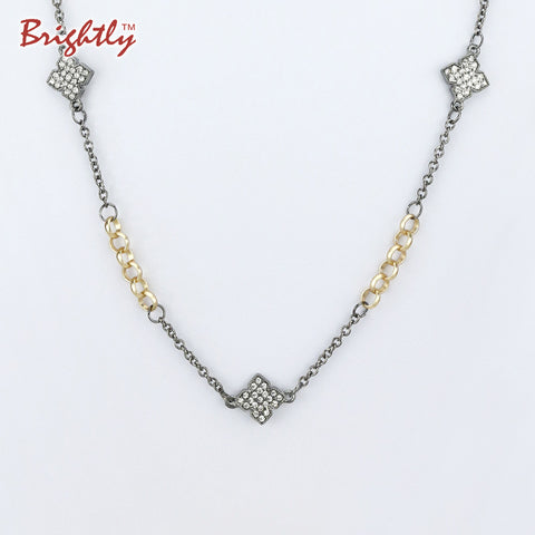 Brightly Hot Sales Vintage Long Necklaces Four Leaf Cloves Design Pendants Necklaces for Women OL Style