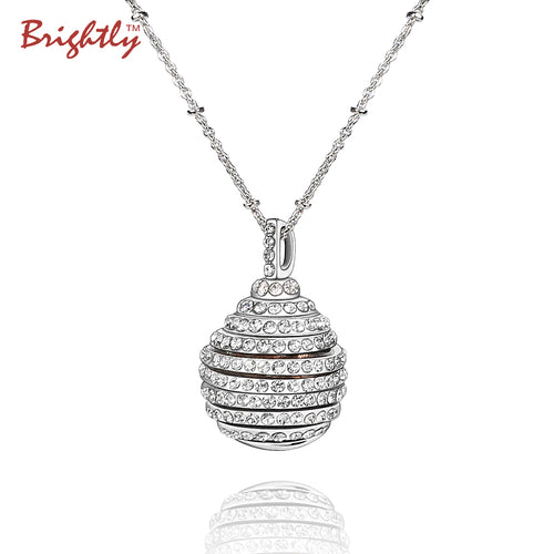 Brightly Luxury Long Necklace Dazzling Sphere Rotatable Pendant Necklace For Women OL Style Dropshipping
