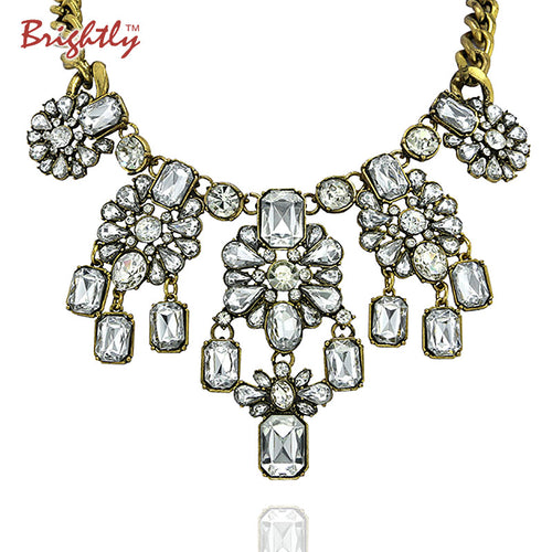 Brightly Luxury Maxi Statement Necklaces Luxury Rhinestones Pendants Necklaces for Women Wedding Party Dress