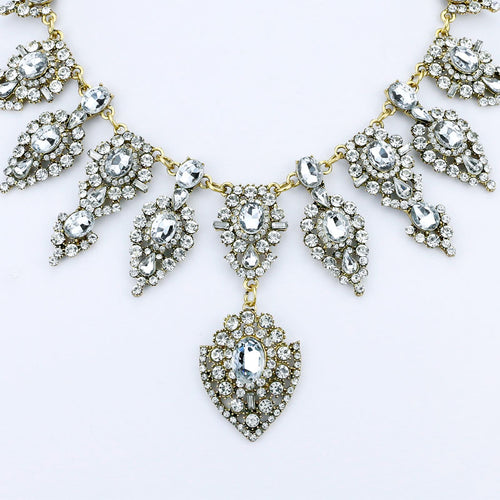 Brightly Luxury Pendant Necklaces with Water Drop Rhinestones Maxi Statement Necklaces For Women Wedding Party Dress