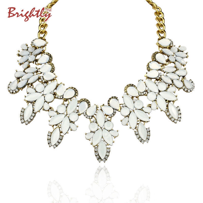 Brightly maxi statement necklaces luxury white flowers shape pedants n brightly maxi statement necklaces luxury white flowers shape pedants necklaces for women wedding dress mightylinksfo