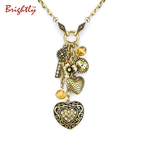 Brightly Punk Statement Long Necklaces Antique Silver Color Lucky Charms Pendants Necklaces for Women
