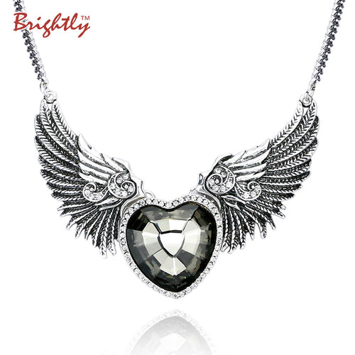 Brightly Punk Style Collar Statement Necklace Love Heart & Angel Wings Pendants Necklaces for Women Antique Silver Plated