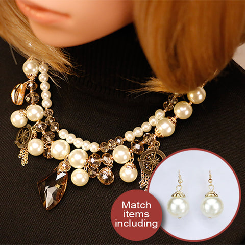 Brightly Simulated Peal Statement Collar Necklaces Luxury Rhinestions Pendants Necklaces For Women Gifts