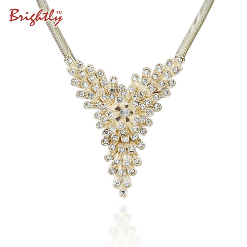 Brightly Statement Collar Necklaces with Retro Baroque Rhinestones Pendants Snake Chain Necklace for Women Evening Party Lady